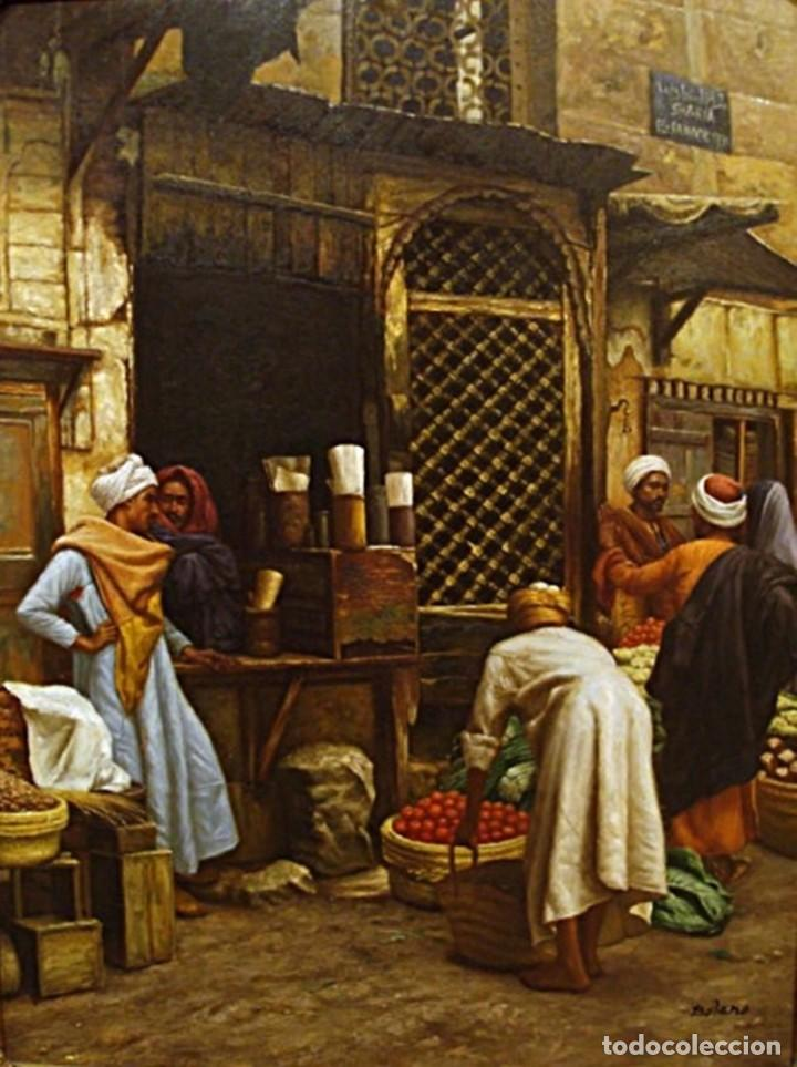 Arte: Ludwig Deutsch -Reproducción- Sharia El-Sanadkyeh, Óleo sobre lienzo enmarcado - Foto 2 - 111295899