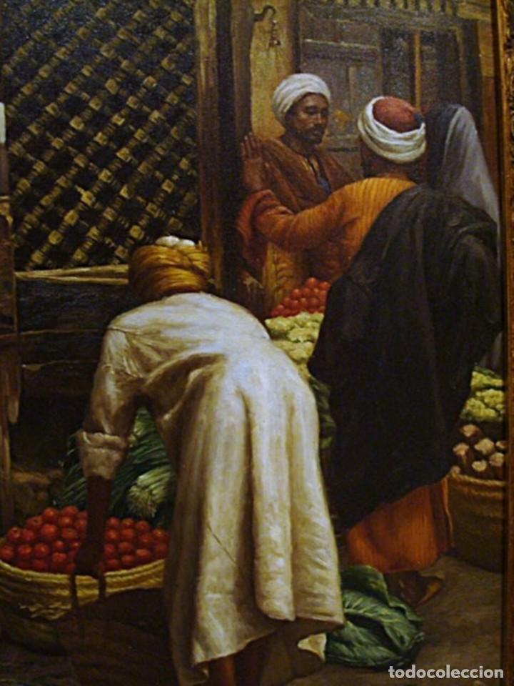 Arte: Ludwig Deutsch -Reproducción- Sharia El-Sanadkyeh, Óleo sobre lienzo enmarcado - Foto 4 - 111295899