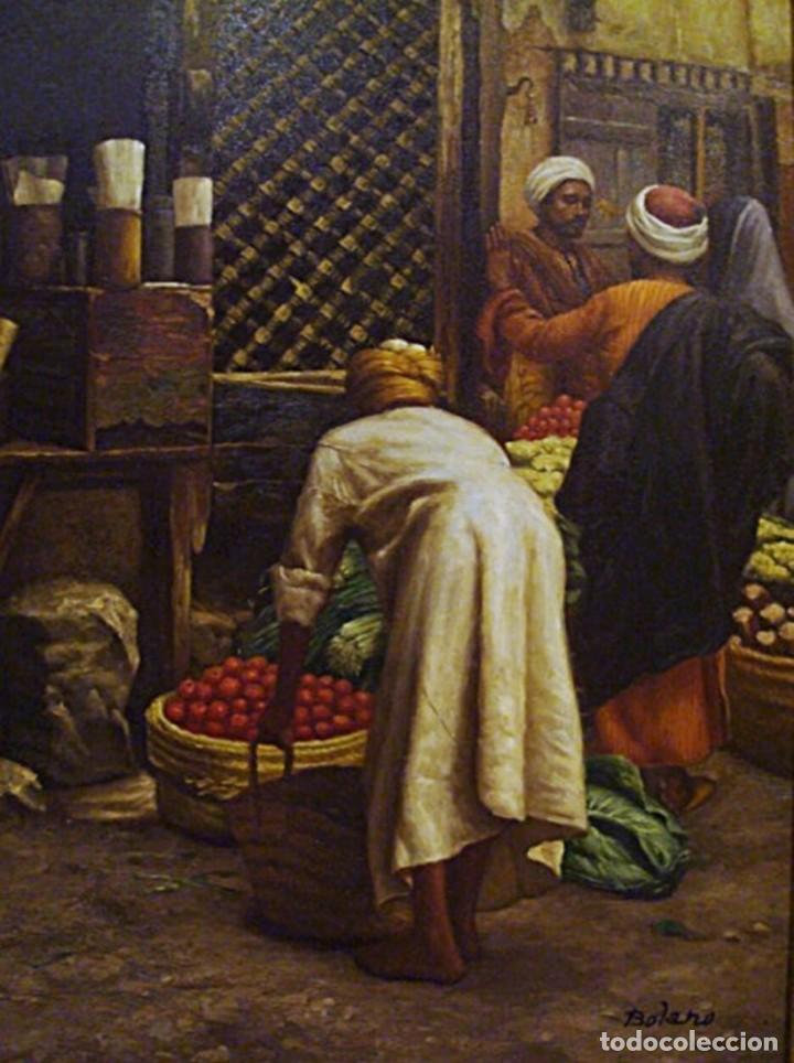 Arte: Ludwig Deutsch -Reproducción- Sharia El-Sanadkyeh, Óleo sobre lienzo enmarcado - Foto 5 - 111295899