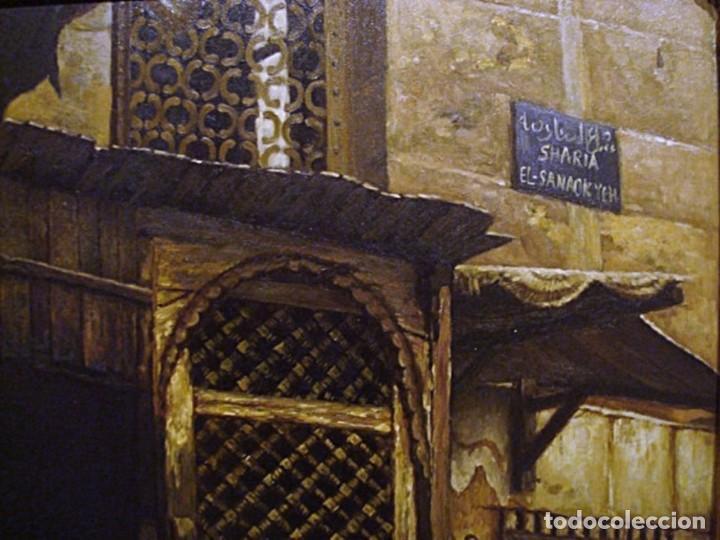 Arte: Ludwig Deutsch -Reproducción- Sharia El-Sanadkyeh, Óleo sobre lienzo enmarcado - Foto 6 - 111295899