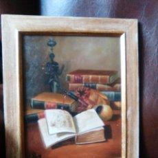 Arte: BODEGÓN DE LIBROS CON PIPA ÓLEO SOBRE TABLA FIRMADA POR:ROIG.. Lote 111337351