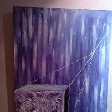 Arte: 3 OLEOS PINTADO SOBRE LIENZO.TEXTURAS.ABSTRACTO.PERSPECTIVAS .92X66. Lote 111360840