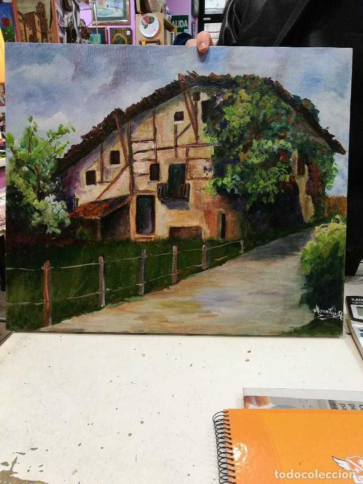 OLEO CASERIO VASCO FIRMADO MIRENTXU.R. (Arte - Pintura - Pintura al Óleo Contemporánea )