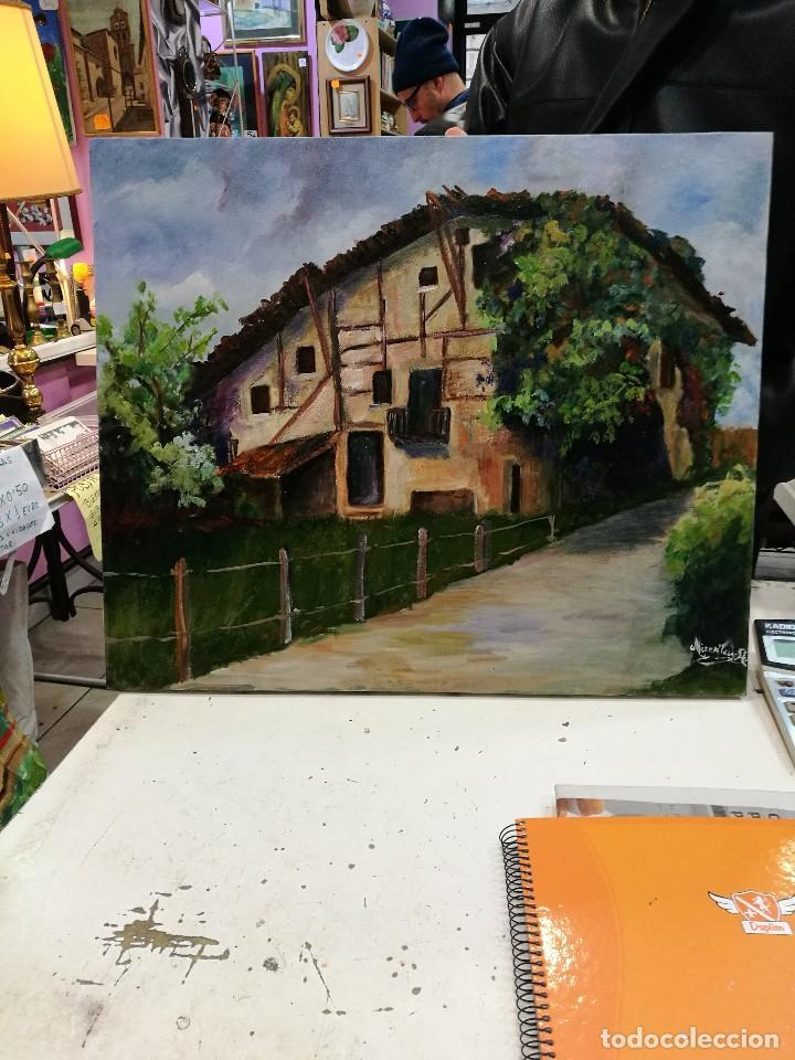 Arte: Oleo caserio vasco firmado mirentxu.r. - Foto 3 - 111406883