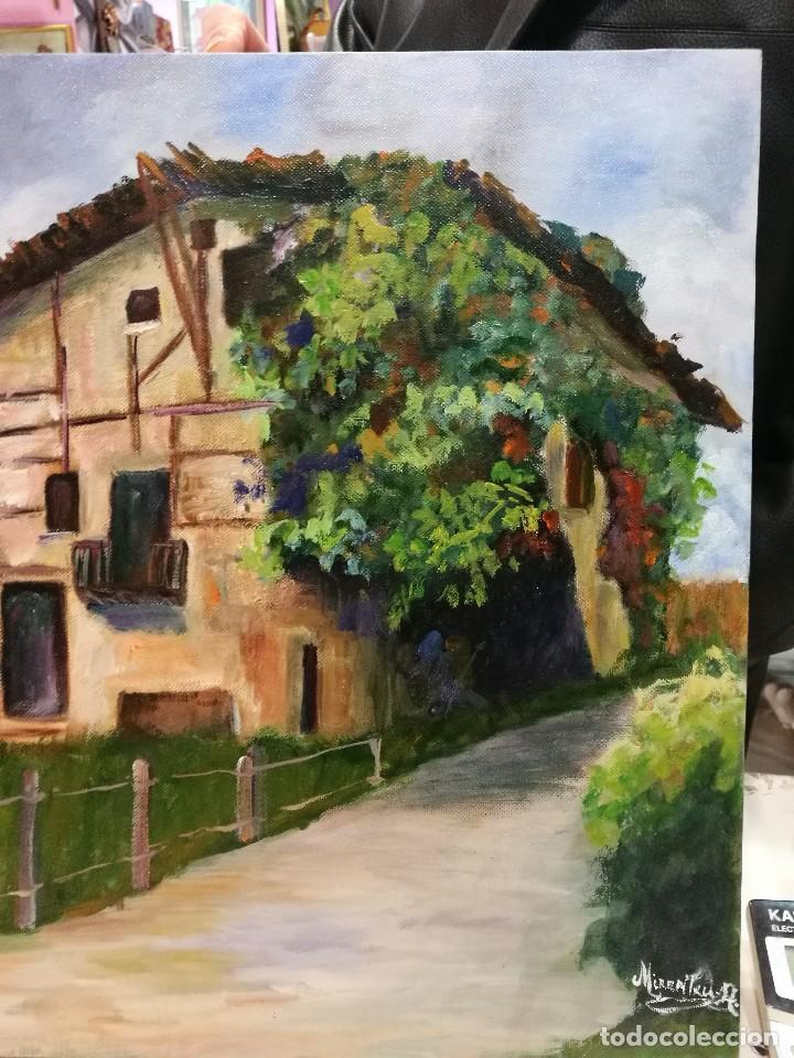 Arte: Oleo caserio vasco firmado mirentxu.r. - Foto 4 - 111406883
