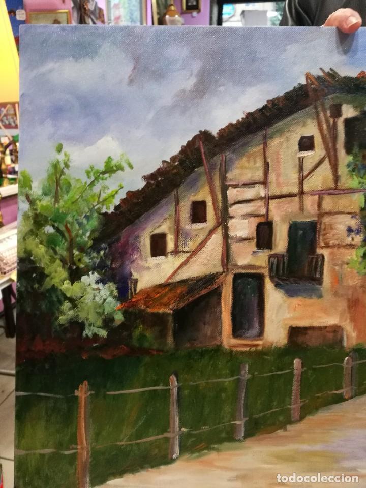 Arte: Oleo caserio vasco firmado mirentxu.r. - Foto 5 - 111406883