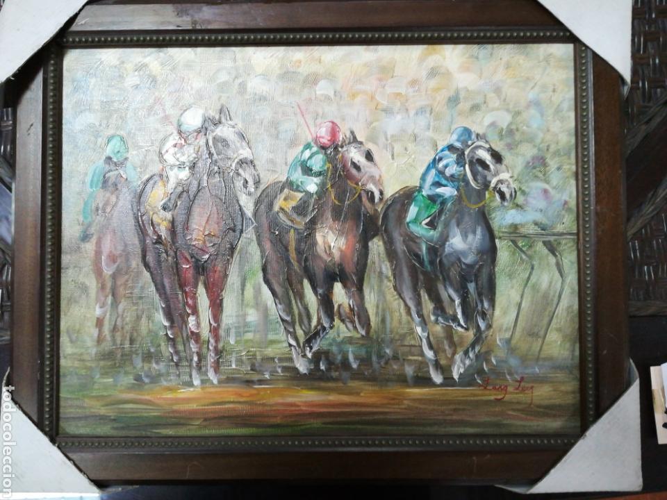 carrera de caballos óleo sobre lienzo enmarcado - Comprar Pintura al ...