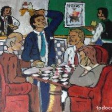 Arte: LA PARTIDA DE AJEDREZ,ÓLEO SOBRE MADERA ,30X40 CM. AUTOR CRESPO. Lote 111466095
