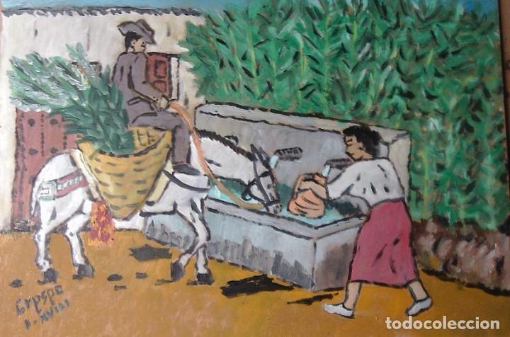 DANDO DE BEBER AL MULO,ÓLEO SOBRE MADERA DE 30X40 CM.AUTOR CRESPO (Arte - Pintura Directa del Autor)