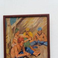 Arte: ANTIGUO CUADRO PINTADO A MANO PESCADORES FIRMADO J.LOPEZ A AÑO 60 IDEAL DECORACION NAUTICA. Lote 111495886