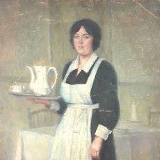 Arte: LA CAMARERA. ÓLEO. LIENZO SOBRE TABLA. FIRMA ILEGIBLE. ESPAÑA (?). SIGLO XIX-XX. Lote 81762728