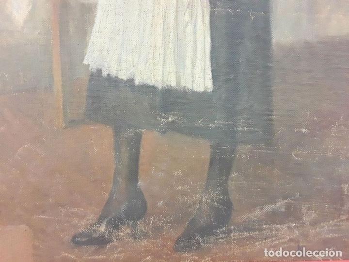 Arte: LA CAMARERA. ÓLEO. LIENZO SOBRE TABLA. FIRMA ILEGIBLE. ESPAÑA (?). SIGLO XIX-XX - Foto 4 - 81762728