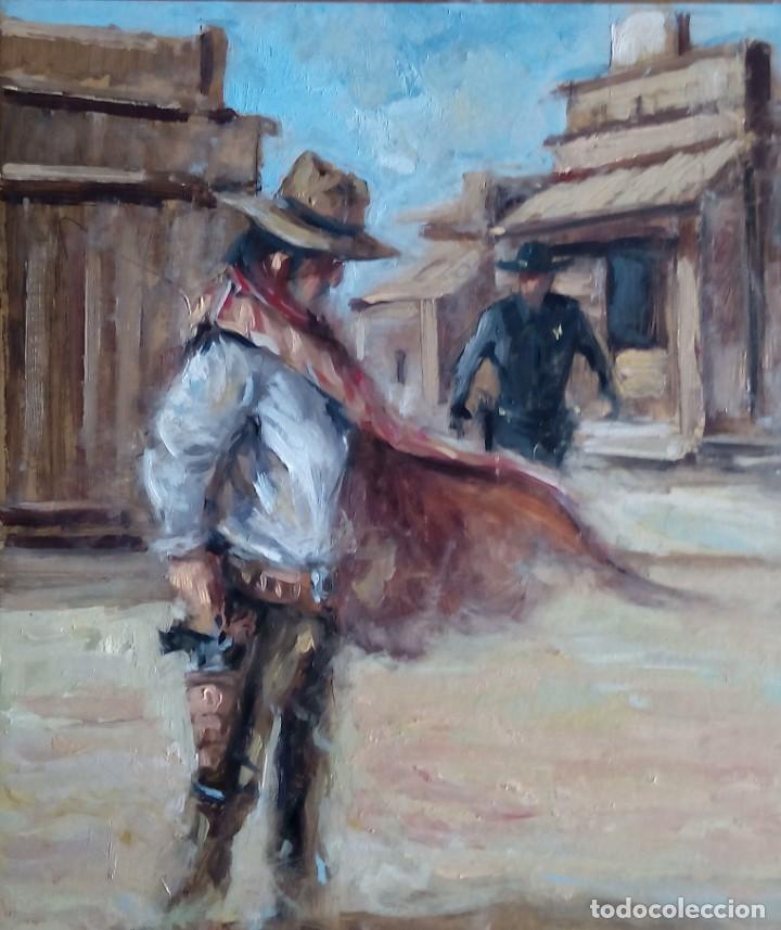ILUSTRACIÓN AL ÓLEO. OBRA ORIGINAL COLECCIÓN SALVAJE OESTE (Arte - Pintura Directa del Autor)