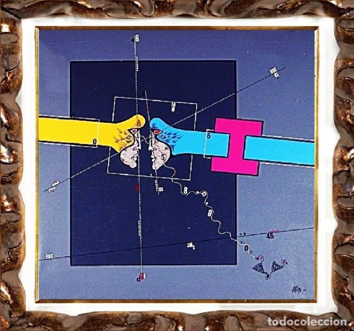 OSWALDO AULESTIA - ABSTRACCIÓN CON FIGURAS, ÓLEO-ACRÍLICO SOBRE LIENZO (Arte - Pintura - Pintura al Óleo Contemporánea )
