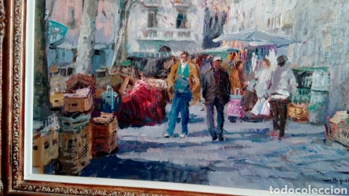 Arte: MERCADO oleo sobre lienzo de MIQUEL CARBONELL 55x46 - Foto 4 - 75306931