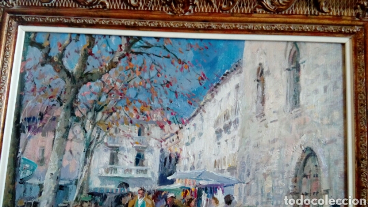 Arte: MERCADO oleo sobre lienzo de MIQUEL CARBONELL 55x46 - Foto 5 - 75306931