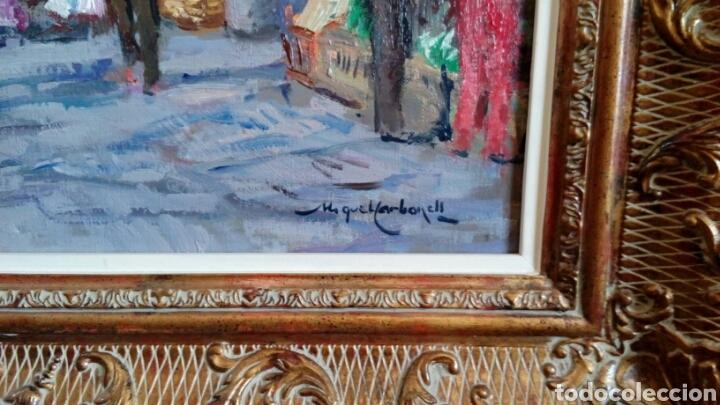 Arte: MERCADO oleo sobre lienzo de MIQUEL CARBONELL 55x46 - Foto 6 - 75306931
