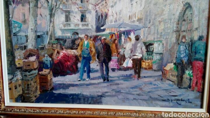 Arte: MERCADO oleo sobre lienzo de MIQUEL CARBONELL 55x46 - Foto 7 - 75306931