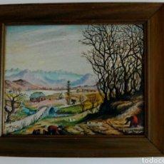 Arte: CUADRO PINTADO EN MADERA 36×31 CM. Lote 111809003