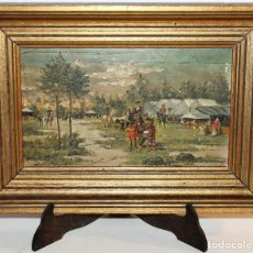 Arte: INTERESANTE ÓLEO SOBRE TABLA DEL SIGLO XIX - FIESTA CAMPERA DE GRAN DETALLISMO - FIRMA ILEGIBLE. Lote 111809731