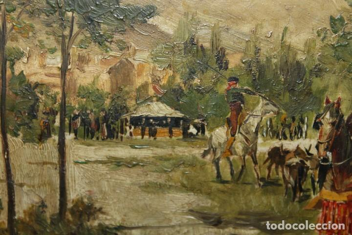 Arte: INTERESANTE ÓLEO SOBRE TABLA DEL SIGLO XIX - FIESTA CAMPERA DE GRAN DETALLISMO - FIRMA ILEGIBLE - Foto 5 - 111809731