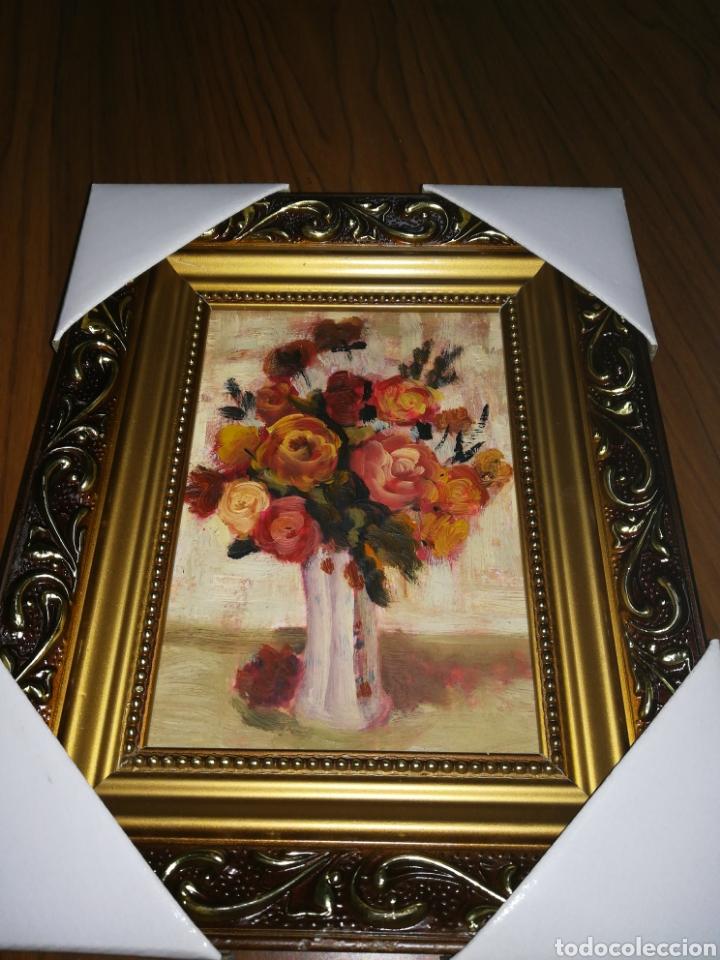 ÓLEO ENMARCADO FLORES 21 X 26 (Arte - Pintura - Pintura al Óleo Moderna sin fecha definida)