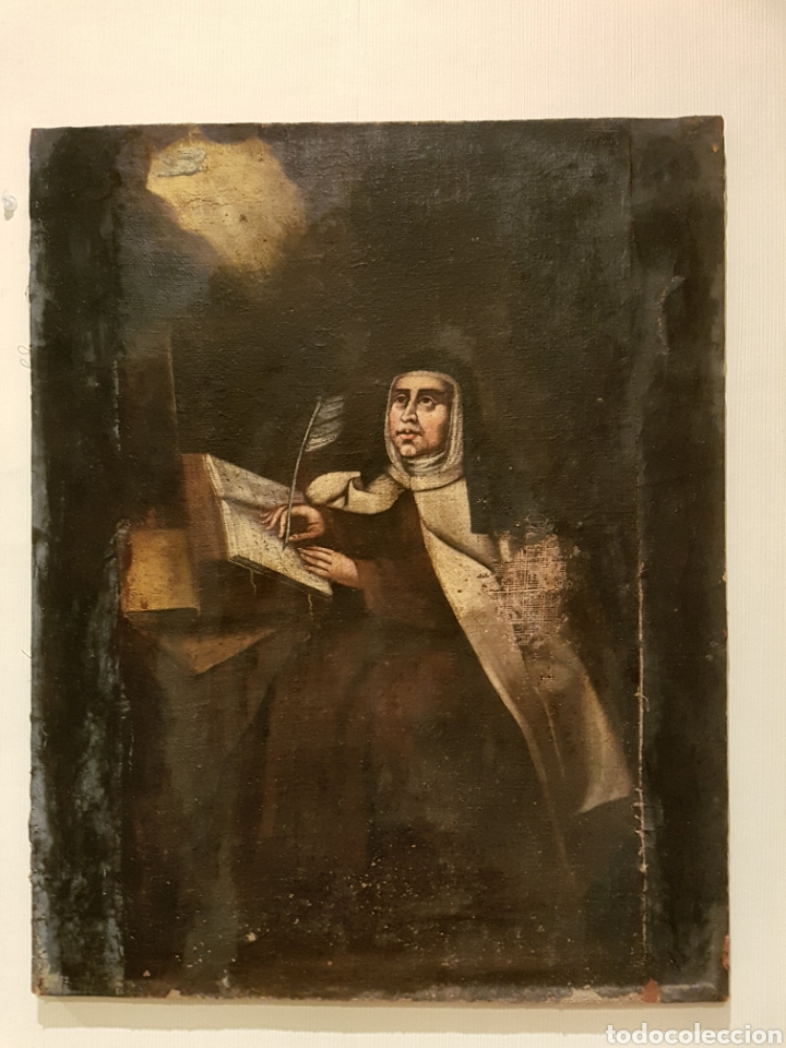 Antiguo oleo sobre lienzo santa teresa de avil comprar pintura al leo antigua siglo xvii en - Enmarcar lienzo ...
