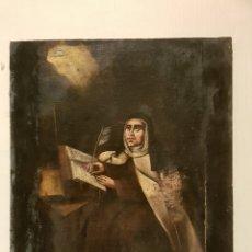 Antiguo oleo sobre lienzo, Santa Teresa de Avila, s.xvii-xviii. Sin enmarcar, 45x57cm