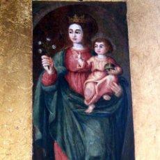 Arte: PINTURA VIRGEN CON NIÑO, PINTURA RELIGIOSA, ÓLEO SOBRE TABLA, NIÑO DE LA BOLA, SIGLO XVI, ESPAÑA. Lote 112076703