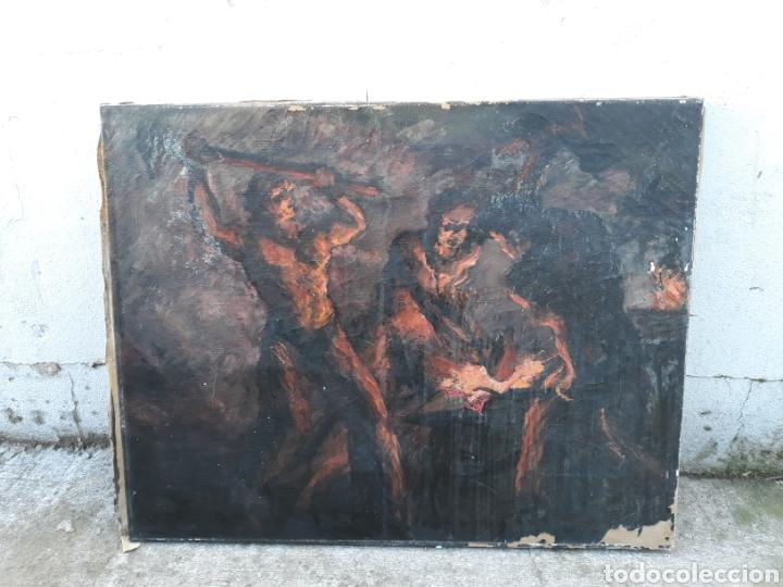 ÓLEO HERREROS HOMBRES TRABAJANDO HIERRO (Arte - Pintura - Pintura al Óleo Antigua sin fecha definida)