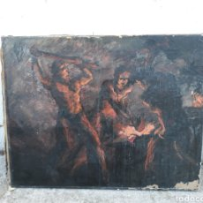 Arte: ÓLEO HERREROS HOMBRES TRABAJANDO HIERRO. Lote 112104338