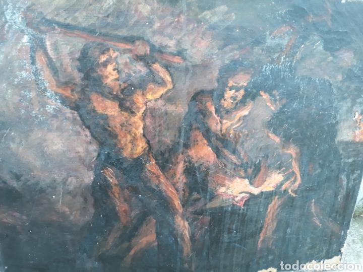 Arte: Óleo Herreros hombres trabajando hierro - Foto 2 - 112104338