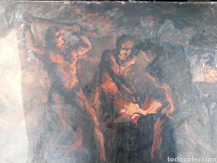 Arte: Óleo Herreros hombres trabajando hierro - Foto 5 - 112104338