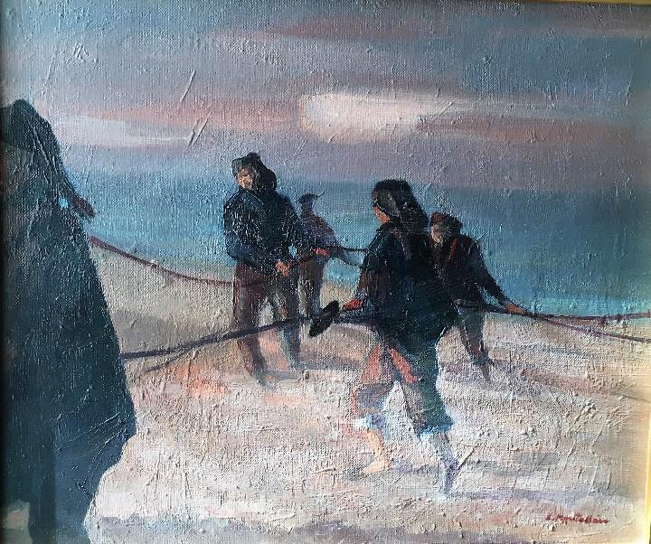Arte: Pescadores por Luis Montalbán Garrido (Granada 1930 - Guetxo 2014) - Foto 5 - 112127479