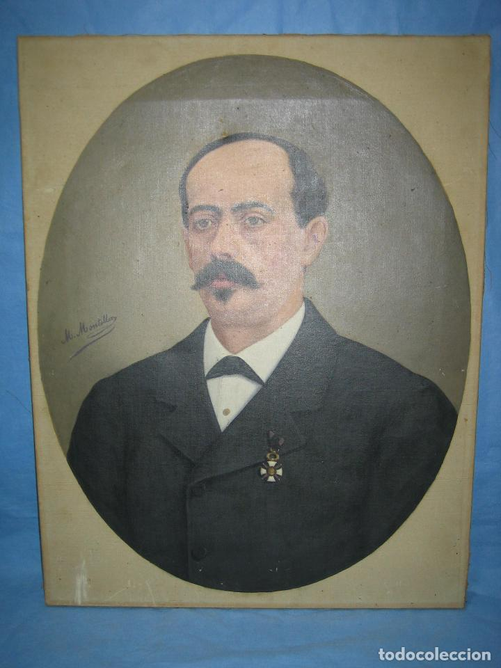 Arte: Óleo retrato por Modesto Montilla Aguilar pintor de Puente Genil. Córdoba. Medidas 50x65 cm - Foto 2 - 112165659