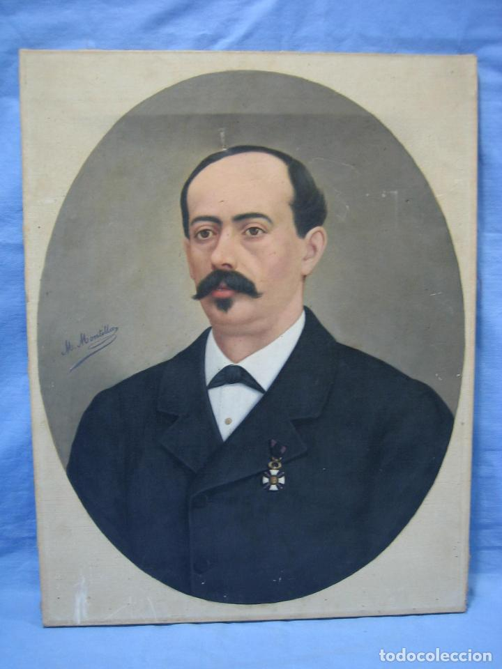 Arte: Óleo retrato por Modesto Montilla Aguilar pintor de Puente Genil. Córdoba. Medidas 50x65 cm - Foto 3 - 112165659