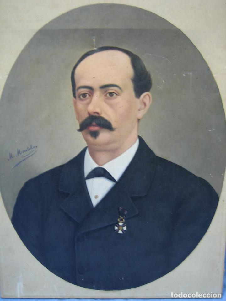 Arte: Óleo retrato por Modesto Montilla Aguilar pintor de Puente Genil. Córdoba. Medidas 50x65 cm - Foto 4 - 112165659