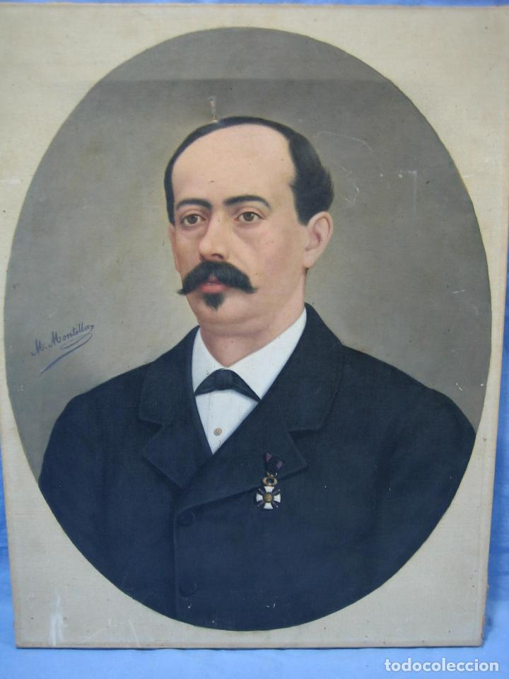 Arte: Óleo retrato por Modesto Montilla Aguilar pintor de Puente Genil. Córdoba. Medidas 50x65 cm - Foto 5 - 112165659