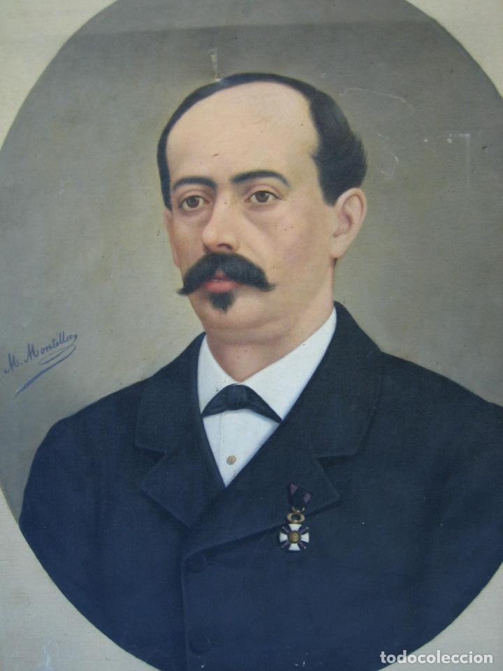 Arte: Óleo retrato por Modesto Montilla Aguilar pintor de Puente Genil. Córdoba. Medidas 50x65 cm - Foto 6 - 112165659