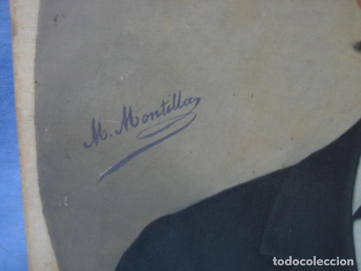 Arte: Óleo retrato por Modesto Montilla Aguilar pintor de Puente Genil. Córdoba. Medidas 50x65 cm - Foto 8 - 112165659