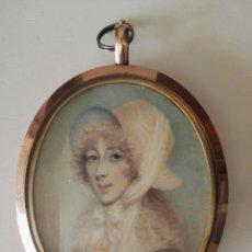 Arte: RETRATO MINIATURA ANNE MEE 1765 1851 LADY TEMPLETOWN MECHÓN PELO. Lote 112214587