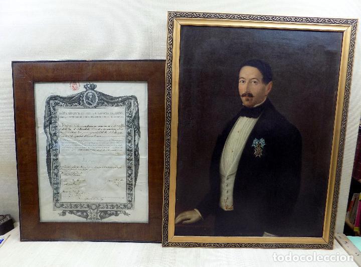 OLEO Y NOMBRAMIENTO DE LA ORDEN DE CARLOS III, VILLARROBLEDO ,ALBACETE, 1855, EPOCA ISABEL II (Arte - Pintura - Pintura al Óleo Moderna siglo XIX)
