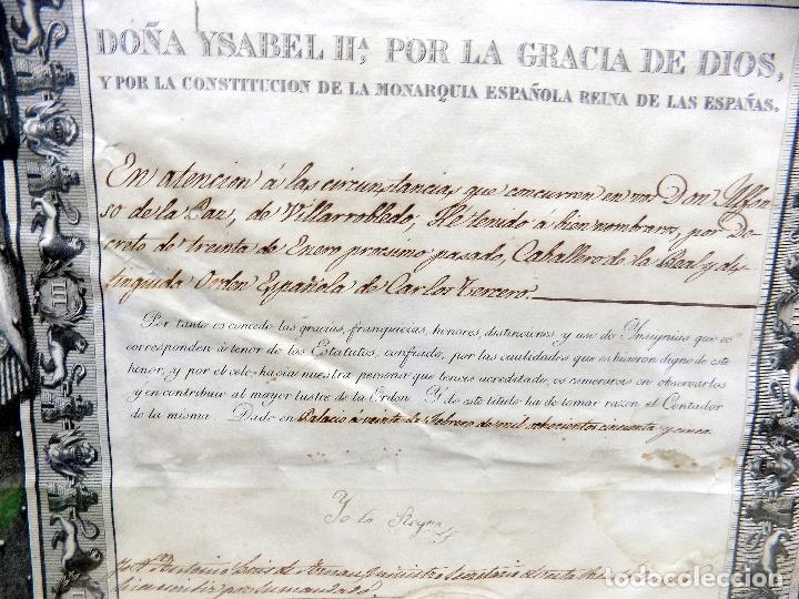 Arte: oleo y nombramiento de la orden de carlos III, villarrobledo ,albacete, 1855, epoca isabel II - Foto 5 - 112250867
