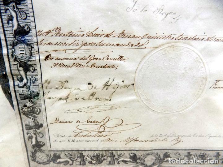 Arte: oleo y nombramiento de la orden de carlos III, villarrobledo ,albacete, 1855, epoca isabel II - Foto 6 - 112250867