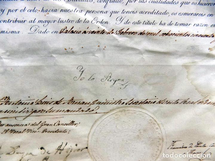 Arte: oleo y nombramiento de la orden de carlos III, villarrobledo ,albacete, 1855, epoca isabel II - Foto 7 - 112250867