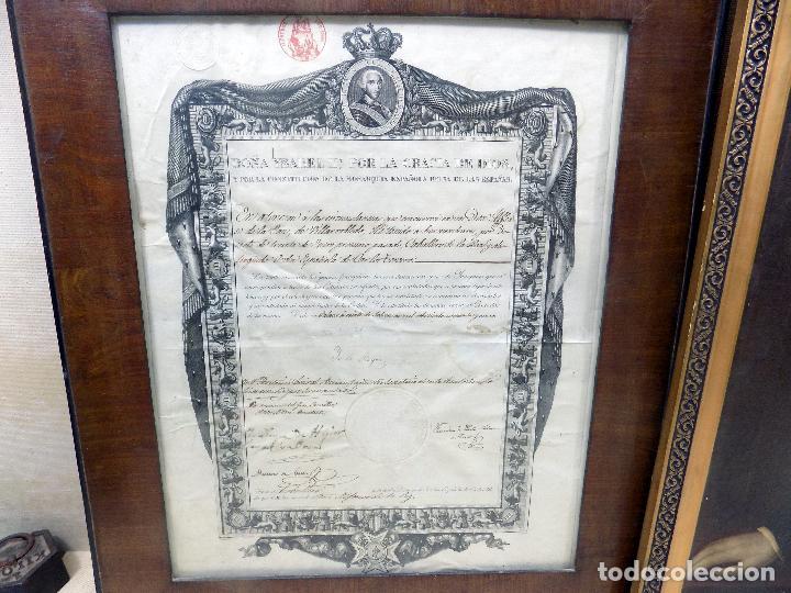 Arte: oleo y nombramiento de la orden de carlos III, villarrobledo ,albacete, 1855, epoca isabel II - Foto 9 - 112250867