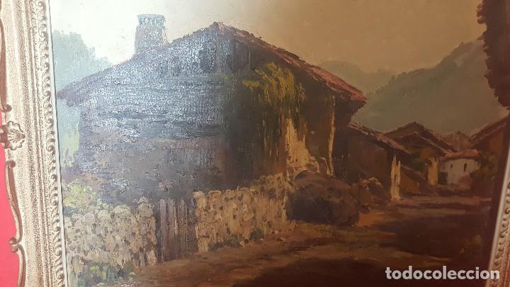 Arte: Pueblo leonés. Óleo sobre lienzo. Firmado y enmarcado. - Foto 3 - 112259307