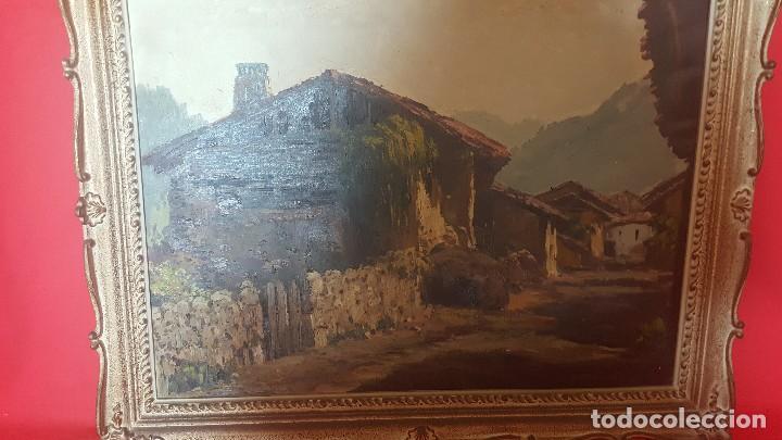 Arte: Pueblo leonés. Óleo sobre lienzo. Firmado y enmarcado. - Foto 4 - 112259307