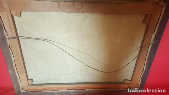 Arte: Pueblo leonés. Óleo sobre lienzo. Firmado y enmarcado. - Foto 7 - 112259307