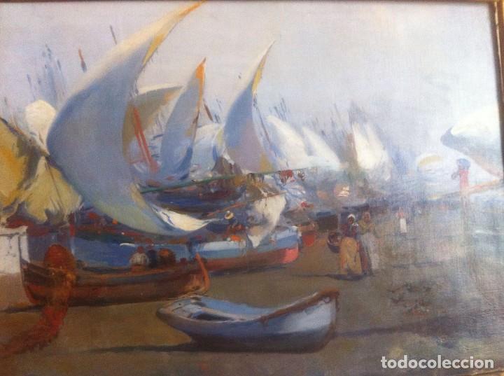JOSE NAVARRO LLORENS MARINA MUJERES EN PLAYA Y BARCOS VARADOS (Arte - Pintura - Pintura al Óleo Moderna siglo XIX)